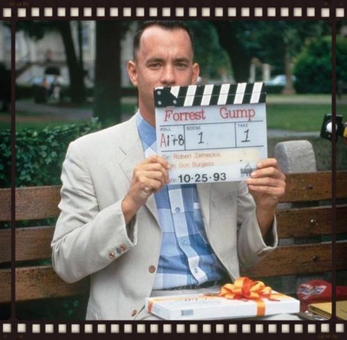 A photograph of actor Tom Hanks in character as Forrest Gump.